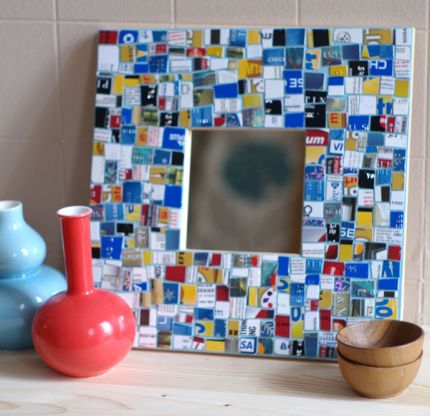 Mosaic Mirror from Recycled Credit Cards – tutorial