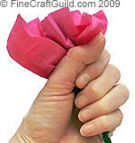 crepe flower making tutorial: sqeezing  © FineCraftGuild.com 2009