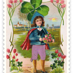 free-vintage-st-patricks-day-boy-with-flowers-and-large-shamrock