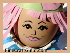 Easter Crafts for Kids: Decorated Egg as Flower Hat Lady
