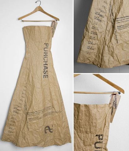 the history of the paper dress - brown paper dress example - featured at FineCraftGuild.com