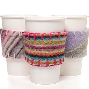 coffee cup cozy recycled felted wool