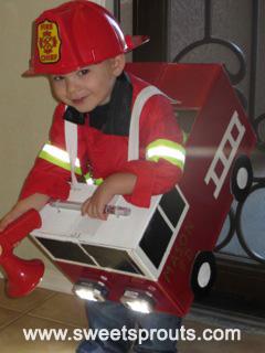 DIY Halloween costume idea fireman firetruck :: FineCraftGuild.com