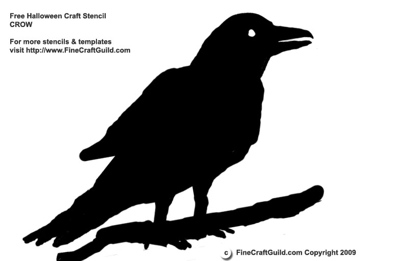 Halloween stencil Raven template - FineCraftGuild.com