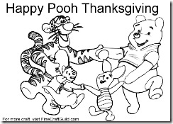 thanksgiving teddy bear coloring pages | Free Thanksgiving Coloring Pages To Print: Winnie the Pooh