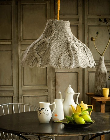 recycled sweater, handmade lampshades