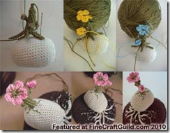 cherry trees on rocks crochet idea
