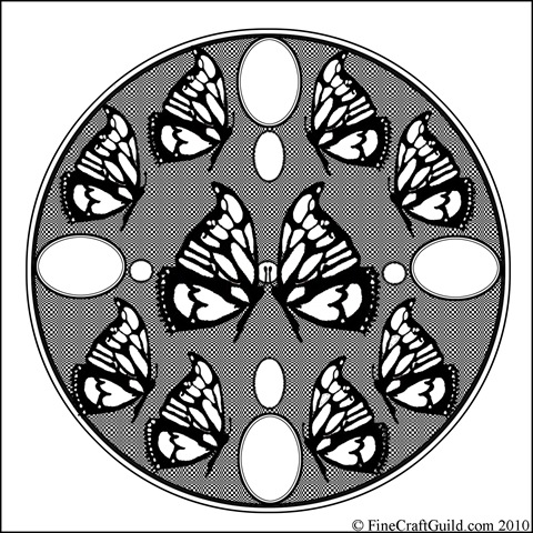 Difficult Coloring Pages: Mandala with Easter Eggs & Butterflies
