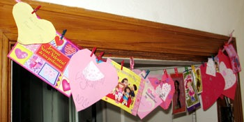 bunting of valentines cards