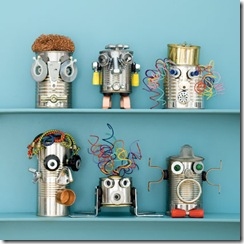 cool crafts for kids :: recycled can robots