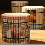 diy recycled newspaper stool