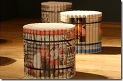 recycled newspaper stool