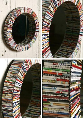 recycled paper mirror or picture frame