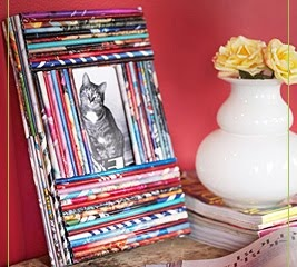 recycled magazines picture frame