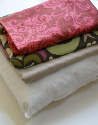 Fabric stack for Free pillow sewing pattern with bird applique and photo transfer