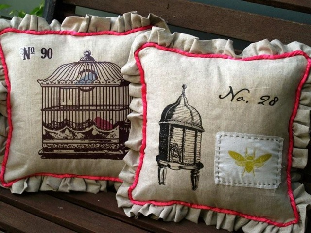 Beautiful Bird and Birdcage Pillows DIY