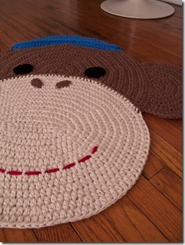 crochet sock monkey rug