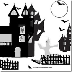 free haunted house stencil