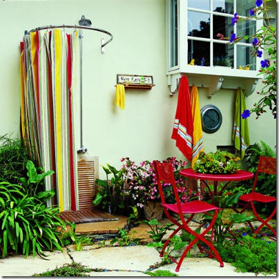 outdoor shower curve curtain-
