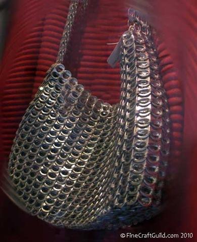 recycled aluminum crochet bag