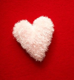 Fluffy Heart Crochet Pillow