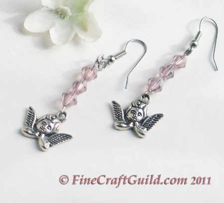 handmade angel earrings with rose quartz