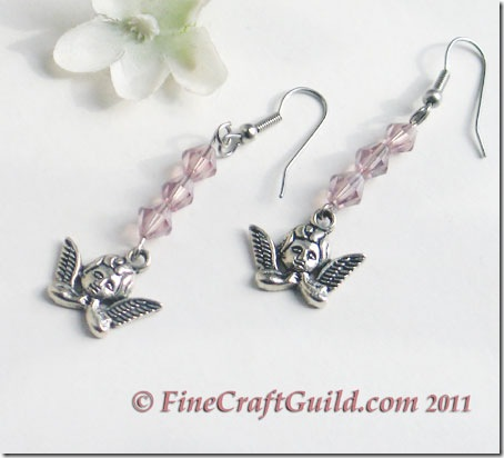 handmade crystal angel earrings tutorial :: fineCraftGuild.com
