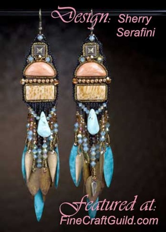 Native American Turquoise Jewelry: Bead Embroidery Earrings