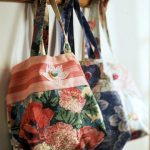 Tote Bag w Flowers, Happy Stripes & Appliqué
