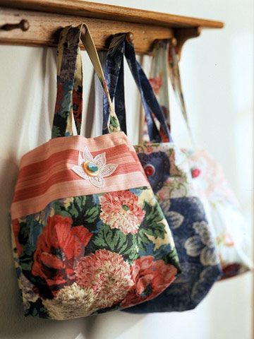 Easy Tote Bag Pattern w Flowers, Happy Stripes & Appliqué
