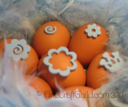 feather decoupage easter eggs
