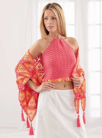 Granny Square Shawl w Halter Top, Free Crochet Pattern