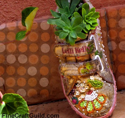 Succulents in Recycled Kids Shoes