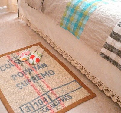 DIY Burlap Bedroom Rug