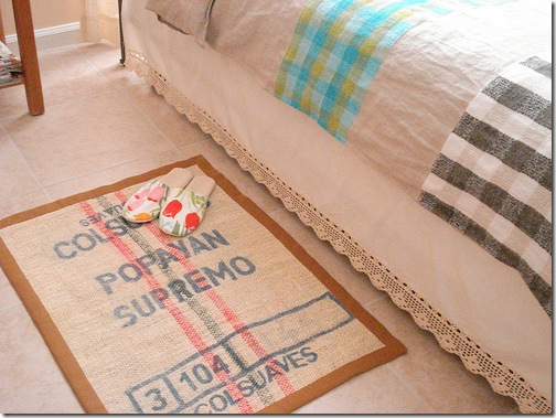 diy bedroom burlap rug
