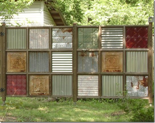 cool recycled metal diy fence