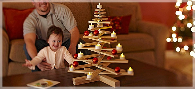 wooden xmas tree w candles