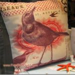 French pillow  bird print  Paris