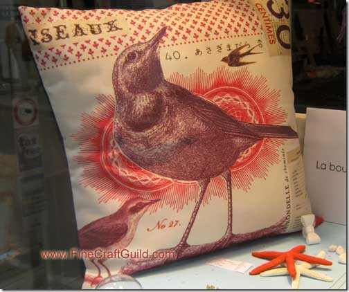 French Pillows w Bird Collage & Bunny Portrait