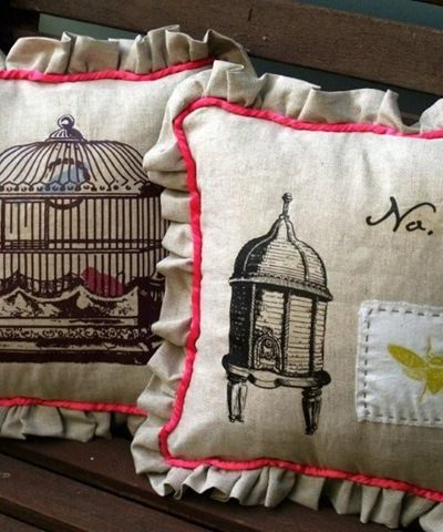Decorative Pillows :: French :: Bird, Dog & Bunny