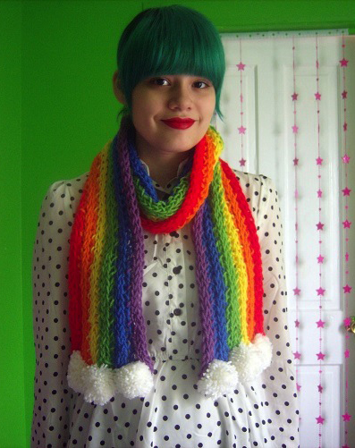 rainbow scarf finger knitting projects