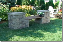 stone garden benches with wooden seat