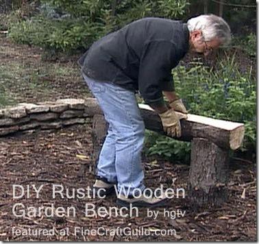 rustic wooden garden bench :: stone garden benches