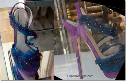 blue feather shoe