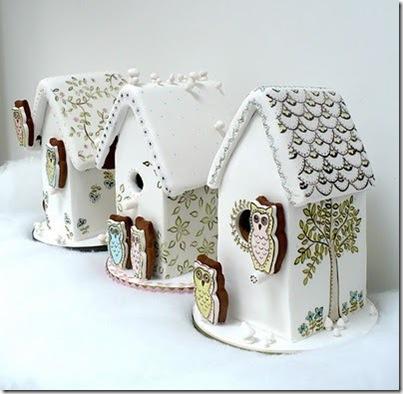 Christmas cakes birdhouses