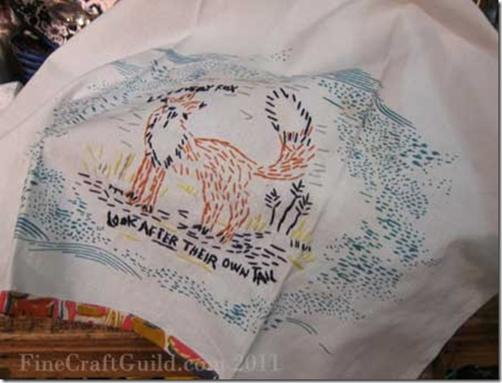 tea towel fox quote embroidery anthropologie