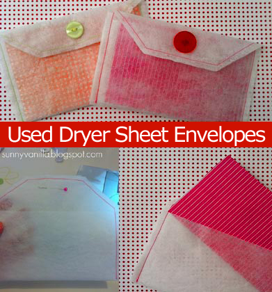 how to make Recycled Dryer Sheet Envelope