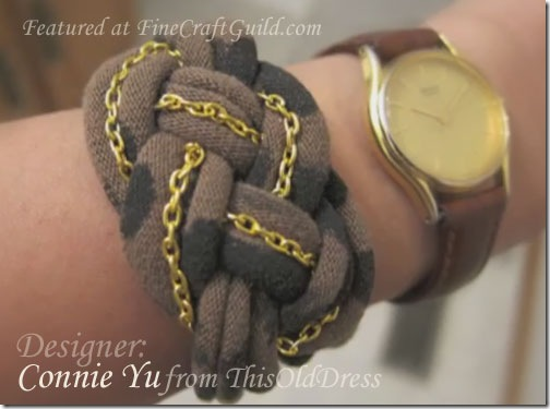 handmade jewelry, gold chain bracelet, tshirt upcycle