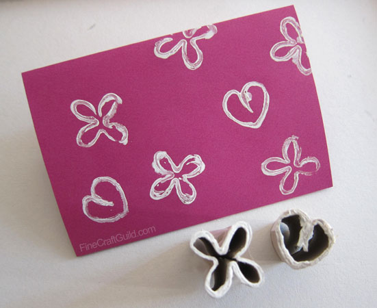 DIY recycled toilet paper roll stamps greeting cards