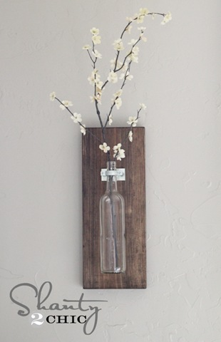 Mounted Glass Wine Bottle Vases